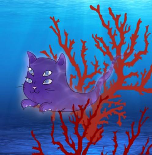 Underwater Ghost Cat by Nicole Reyes Alves